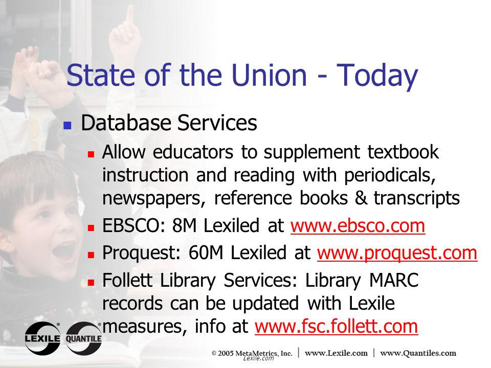 Lexile.com Database Services Allow educators to supplement textbook instruction and reading with periodicals, newspapers, reference books & transcript
