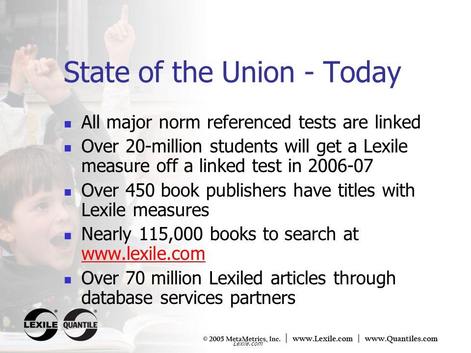 Lexile.com The Questia 100 0 5 10 15 20 25 30 35 Frequency Lexile measure < 1000L1100L1200L1300L1400L> 1500L Data: Lexile measures provided by Questia (2004) 1500L