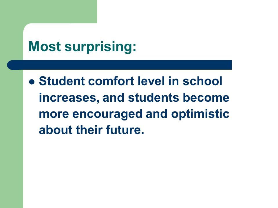 Most surprising: Student comfort level in school increases, and students become more encouraged and optimistic about their future.