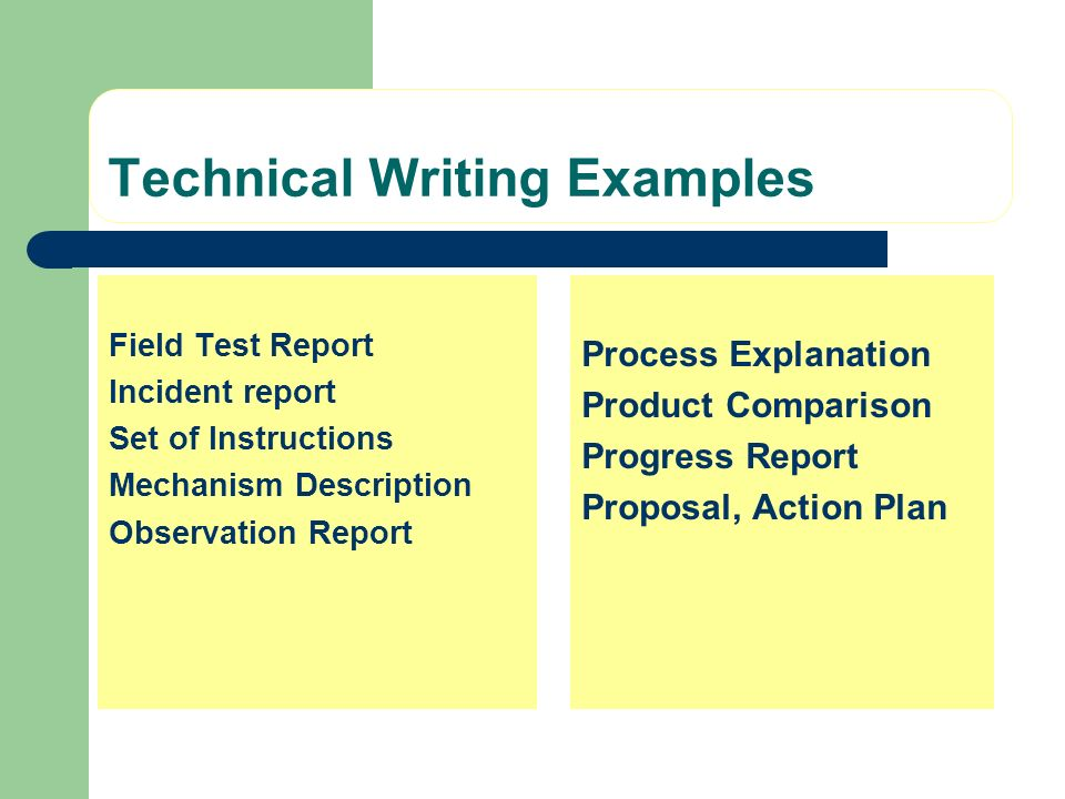 Technical Writing Examples Field Test Report Incident report Set of Instructions Mechanism Description Observation Report Process Explanation Product