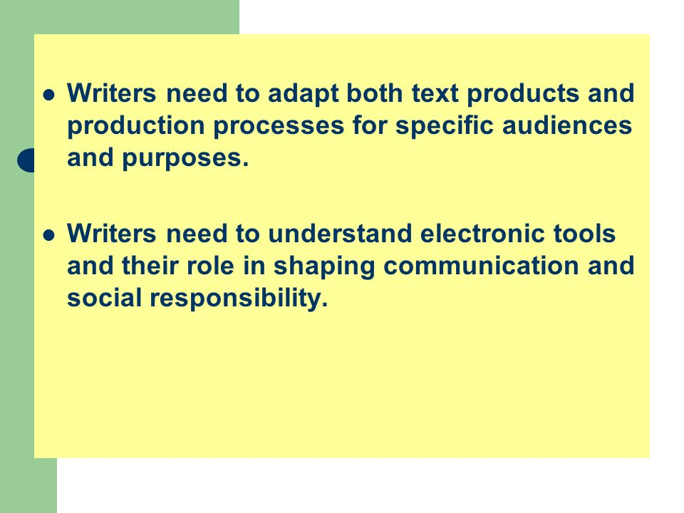 Writers need to adapt both text products and production processes for specific audiences and purposes. Writers need to understand electronic tools and