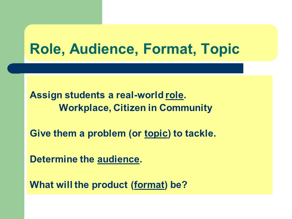 Role, Audience, Format, Topic Assign students a real-world role. Workplace, Citizen in Community Give them a problem (or topic) to tackle. Determine t