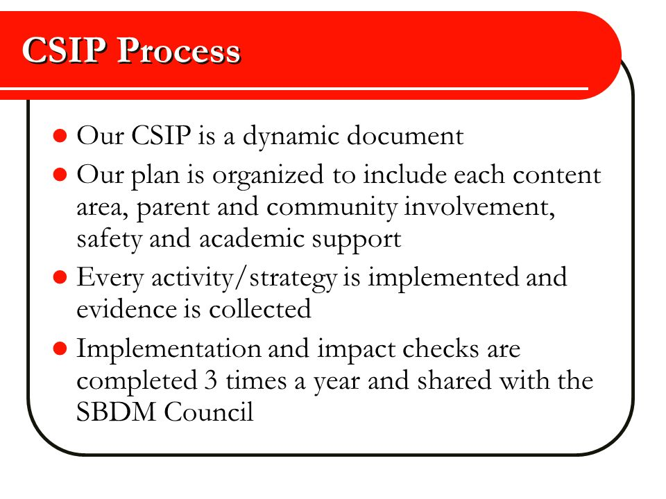 CSIP Process Our CSIP is a dynamic document Our plan is organized to include each content area, parent and community involvement, safety and academic