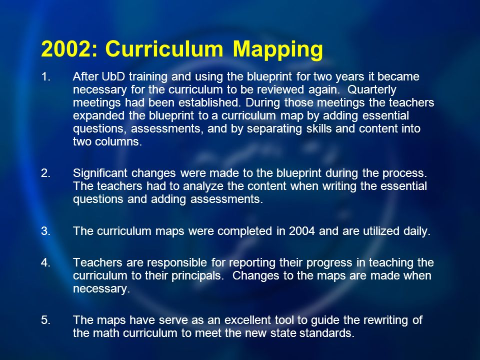 2002: Curriculum Mapping 1.After UbD training and using the blueprint for two years it became necessary for the curriculum to be reviewed again.