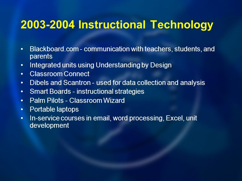 Instructional Technology Blackboard.com - communication with teachers, students, and parents Integrated units using Understanding by Design Classroom Connect Dibels and Scantron - used for data collection and analysis Smart Boards - instructional strategies Palm Pilots - Classroom Wizard Portable laptops In-service courses in  , word processing, Excel, unit development