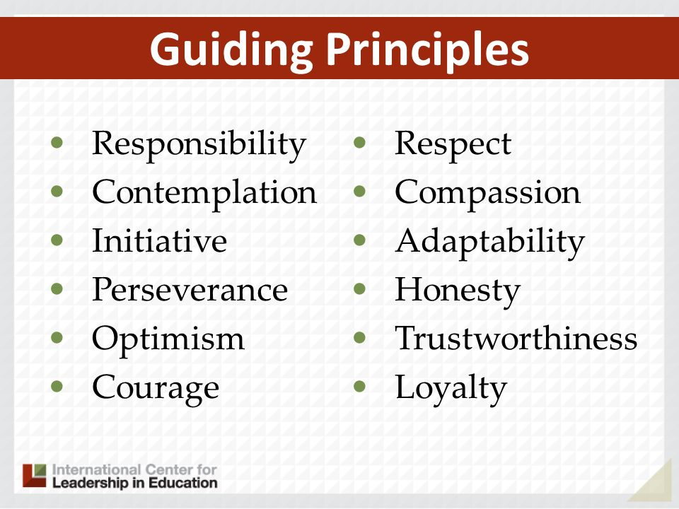 Guiding Principles Responsibility Contemplation Initiative Perseverance Optimism Courage Respect Compassion Adaptability Honesty Trustworthiness Loyal