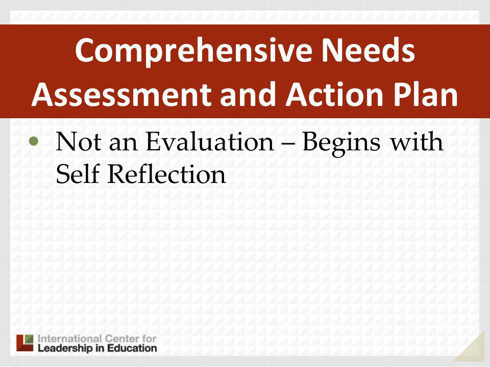 Not an Evaluation – Begins with Self Reflection Comprehensive Needs Assessment and Action Plan