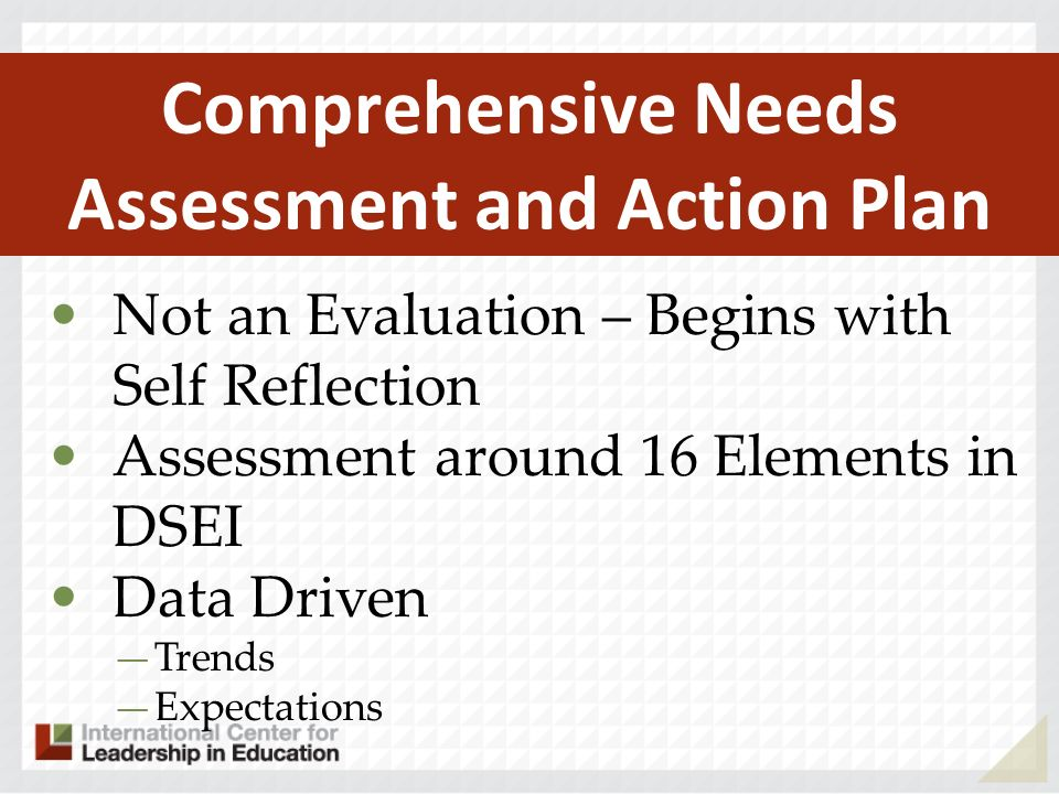 Not an Evaluation – Begins with Self Reflection Assessment around 16 Elements in DSEI Data Driven Trends Expectations Comprehensive Needs Assessment and Action Plan