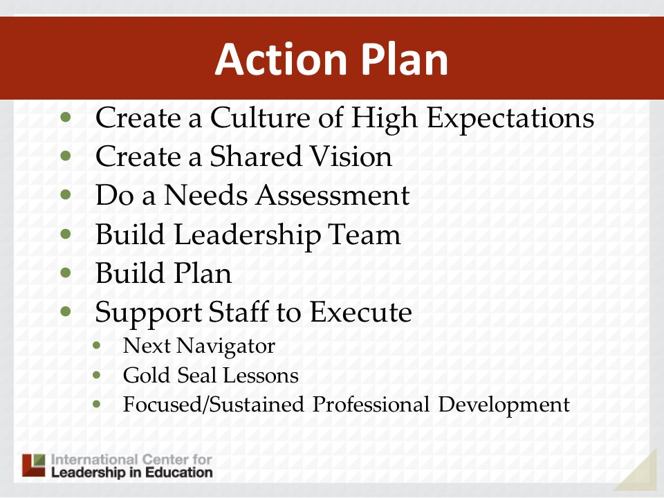 Action Plan Create a Culture of High Expectations Create a Shared Vision Do a Needs Assessment Build Leadership Team Build Plan Support Staff to Execu