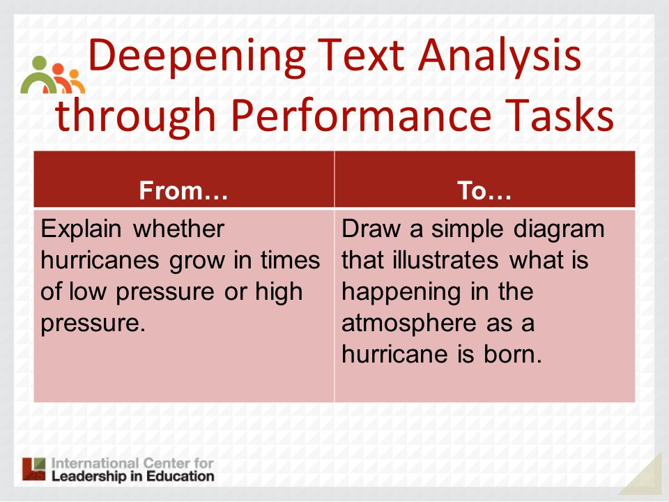 Deepening Text Analysis through Performance Tasks From…To… Explain whether hurricanes grow in times of low pressure or high pressure. Draw a simple di