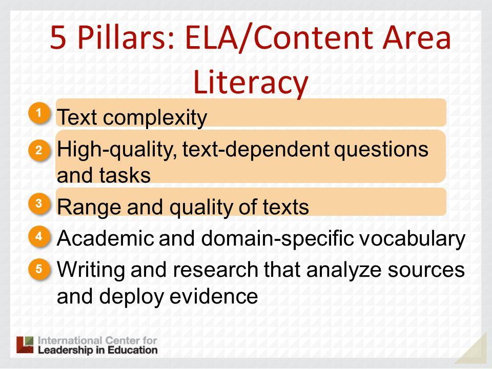 5 Pillars: ELA/Content Area Literacy 1 1 2 2 3 3 4 4 5 5 Text complexity High-quality, text-dependent questions and tasks Range and quality of texts A