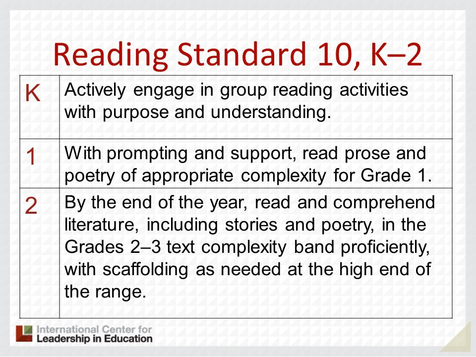 Reading Standard 10, K–2 K Actively engage in group reading activities with purpose and understanding. 1 With prompting and support, read prose and po