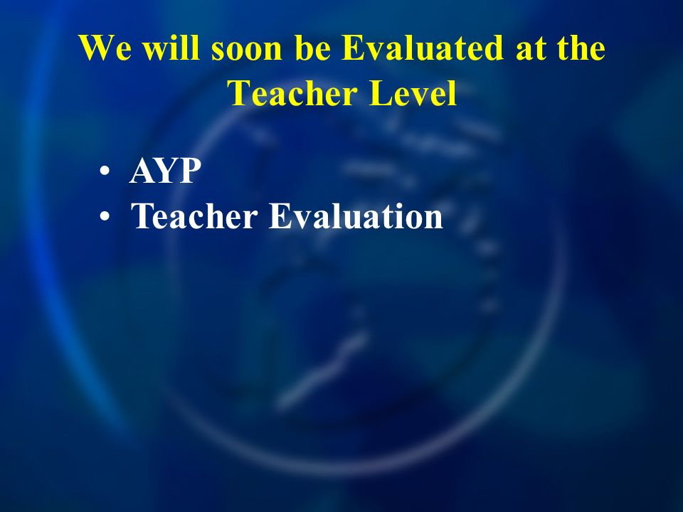 We will soon be Evaluated at the Teacher Level AYP Teacher Evaluation