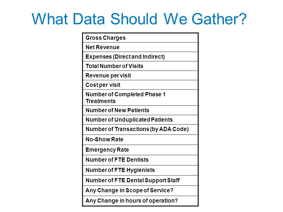 What Data Should We Gather.