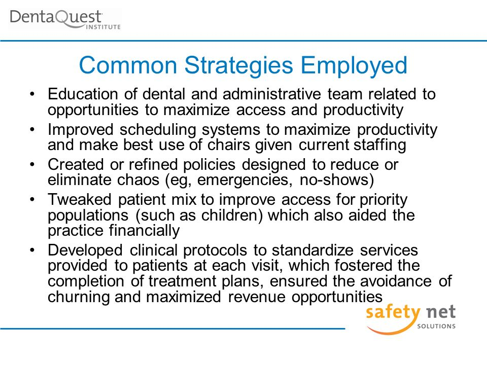 Common Strategies Employed (cont.) Adjusted fee schedules to be more in line with Usual and Customary Rates Revised encounter forms to enhance their functionality Established access and productivity goals for the practice, ensuring elimination of disease and creation of financial sustainability Met with dental and administrative staff to review current situation and present the action steps recommended for practice enhancement and/or recovery Showed the practice how to monitor success or lack thereof in achieving action plan goals Promoted the development of a process to reward and celebrate success on a regular basis
