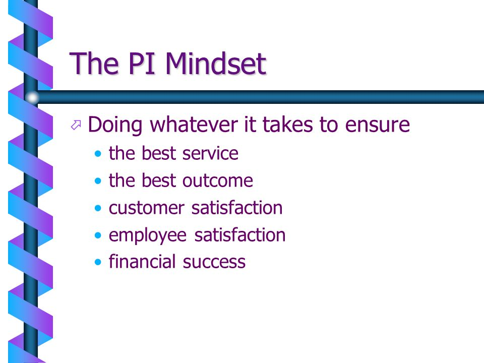 The PI Mindset ö ö Doing whatever it takes to ensure the best service the best outcome customer satisfaction employee satisfaction financial success
