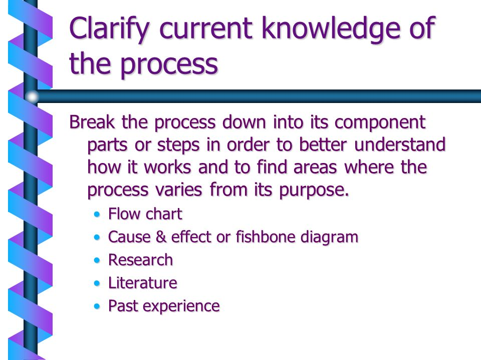 Clarify current knowledge of the process Break the process down into its component parts or steps in order to better understand how it works and to fi