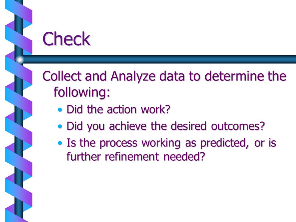 Check Collect and Analyze data to determine the following: Did the action work?Did the action work? Did you achieve the desired outcomes?Did you achie