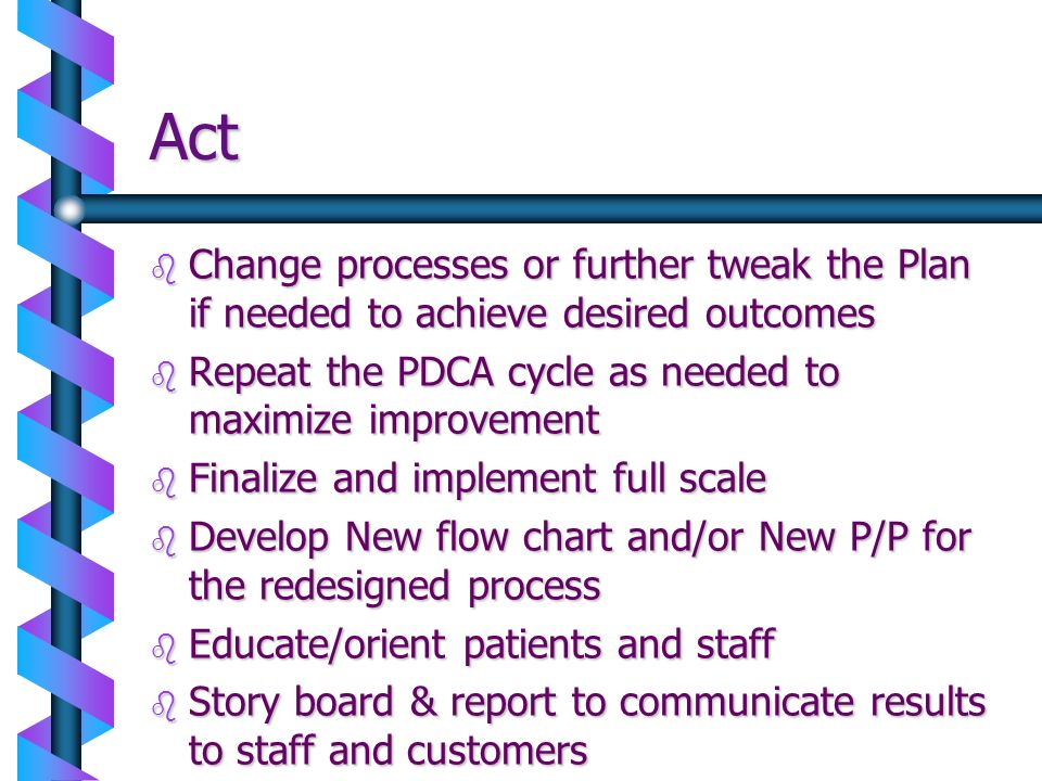 Act b Change processes or further tweak the Plan if needed to achieve desired outcomes b Repeat the PDCA cycle as needed to maximize improvement b Fin
