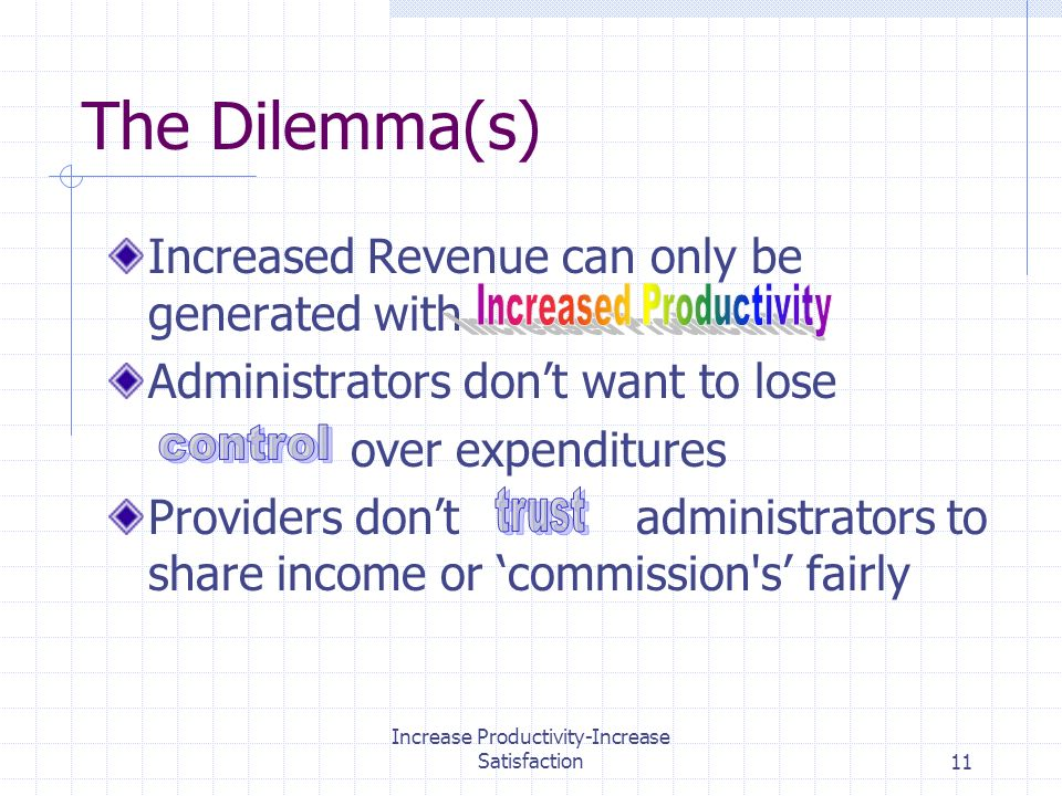 Increase Productivity-Increase Satisfaction11 The Dilemma(s) Increased Revenue can only be generated with Administrators dont want to lose over expenditures Providers dont administrators to share income or commission s fairly