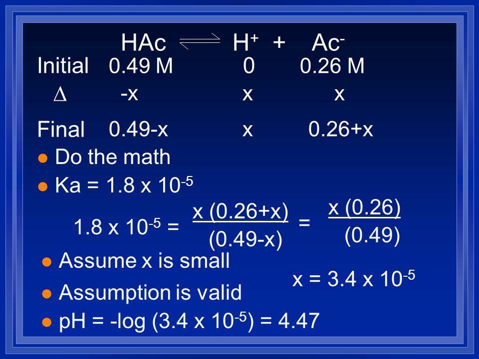 l Do the math l Ka = 1.8 x 10 -5 1.8 x 10 -5 = x (0.26+x) (0.49-x) l Assume x is small = x (0.26) (0.49) x = 3.4 x 10 -5 l Assumption is valid l pH =