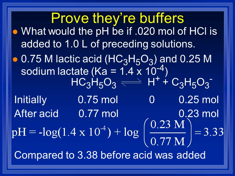 Prove theyre buffers l What would the pH be if.020 mol of HCl is added to 1.0 L of preceding solutions. l 0.75 M lactic acid (HC 3 H 5 O 3 ) and 0.25