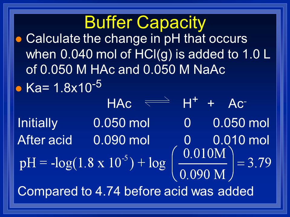 Buffer Capacity l Calculate the change in pH that occurs when 0.040 mol of HCl(g) is added to 1.0 L of 0.050 M HAc and 0.050 M NaAc l Ka= 1.8x10 -5 HA