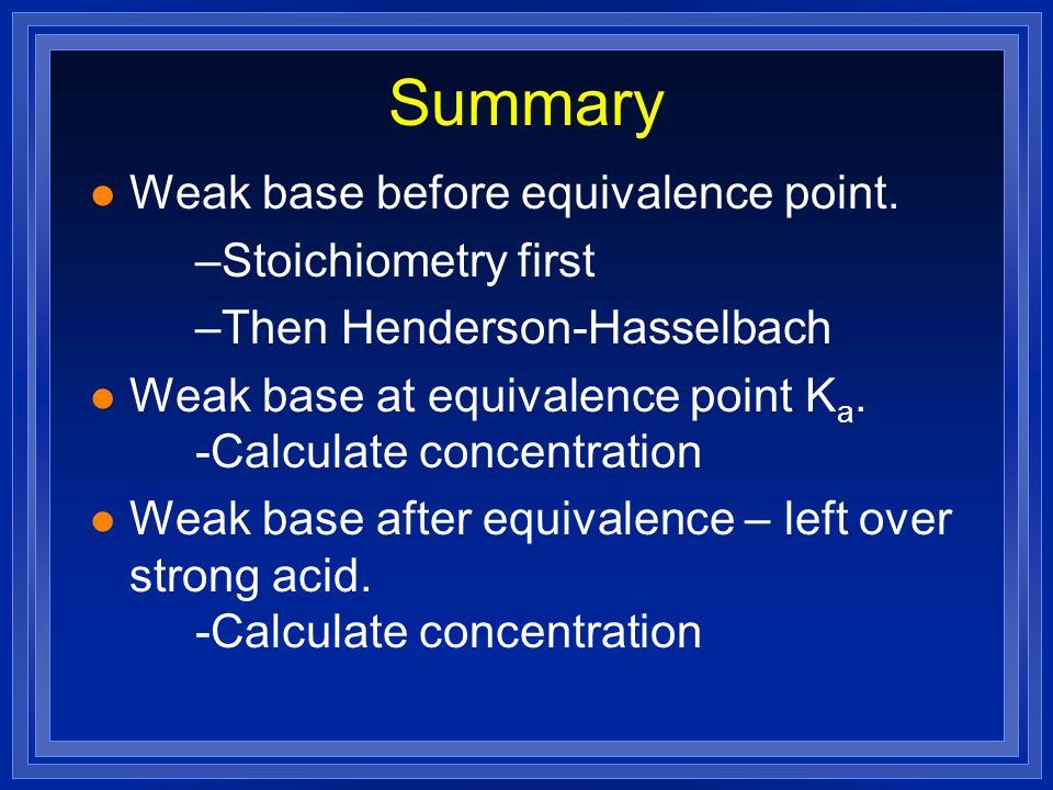 Summary l Weak base before equivalence point. –Stoichiometry first –Then Henderson-Hasselbach l Weak base at equivalence point K a. -Calculate concent