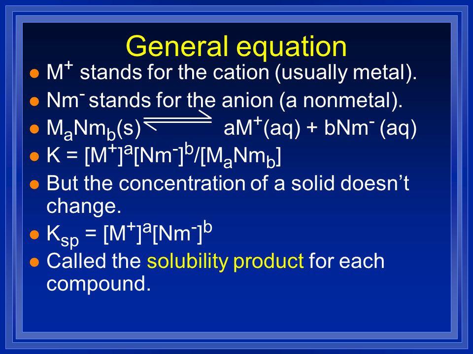General equation l M + stands for the cation (usually metal). l Nm - stands for the anion (a nonmetal). l M a Nm b (s) aM + (aq) + bNm - (aq) l K = [M