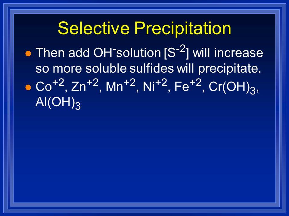 Selective Precipitation l Then add OH - solution [S -2 ] will increase so more soluble sulfides will precipitate. l Co +2, Zn +2, Mn +2, Ni +2, Fe +2,