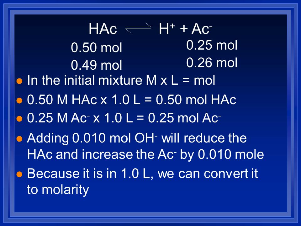 HAc H + + Ac - l In the initial mixture M x L = mol l 0.50 M HAc x 1.0 L = 0.50 mol HAc l 0.25 M Ac - x 1.0 L = 0.25 mol Ac - l Adding 0.010 mol OH - will reduce the HAc and increase the Ac - by 0.010 mole l Because it is in 1.0 L, we can convert it to molarity 0.50 mol 0.25 mol 0.49 M 0.26 M
