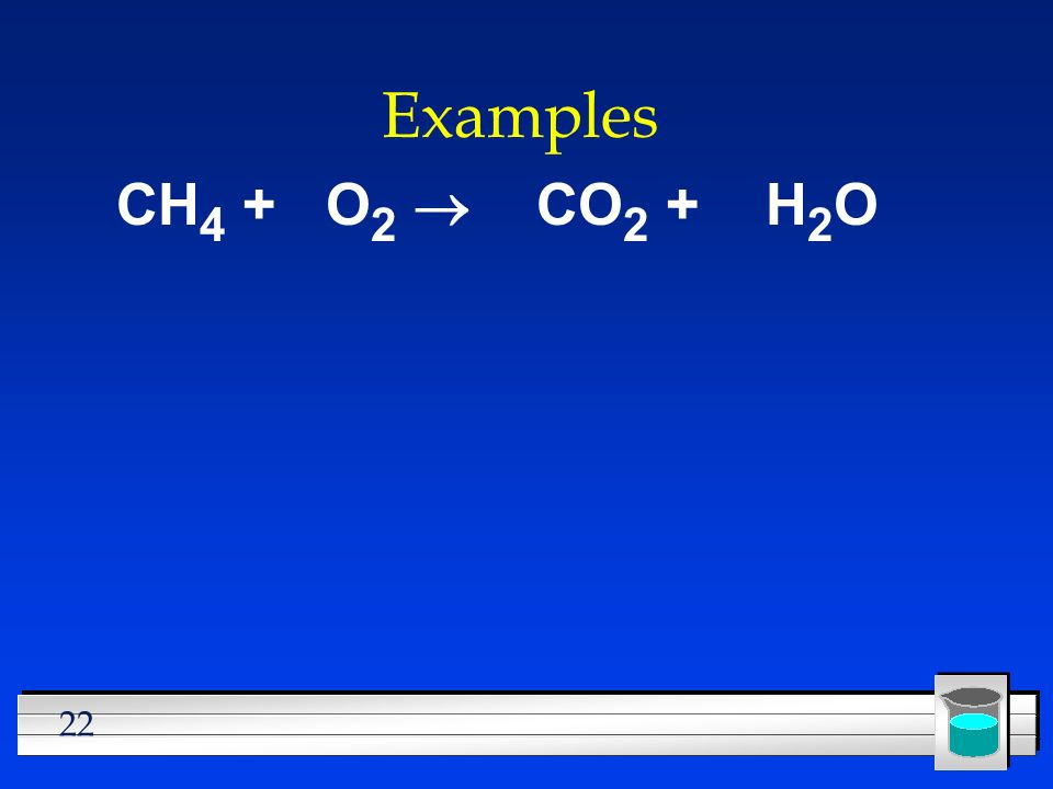 22 Examples CH 4 + O 2 CO 2 + H 2 O