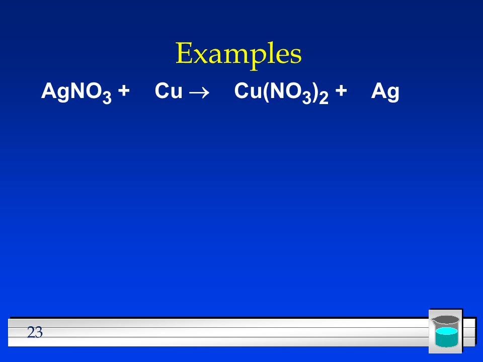 23 Examples AgNO 3 + Cu Cu(NO 3 ) 2 + Ag