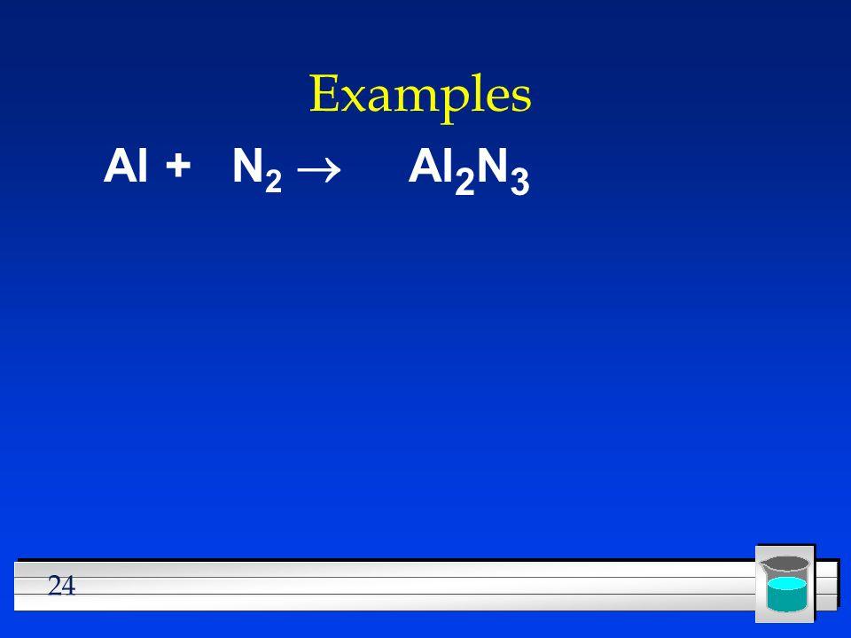 24 Examples Al + N 2 Al 2 N 3