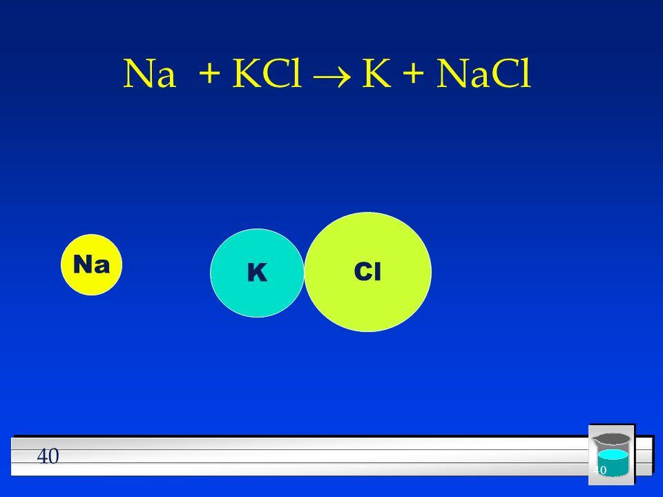 40 Na + KCl K + NaCl Na K Cl