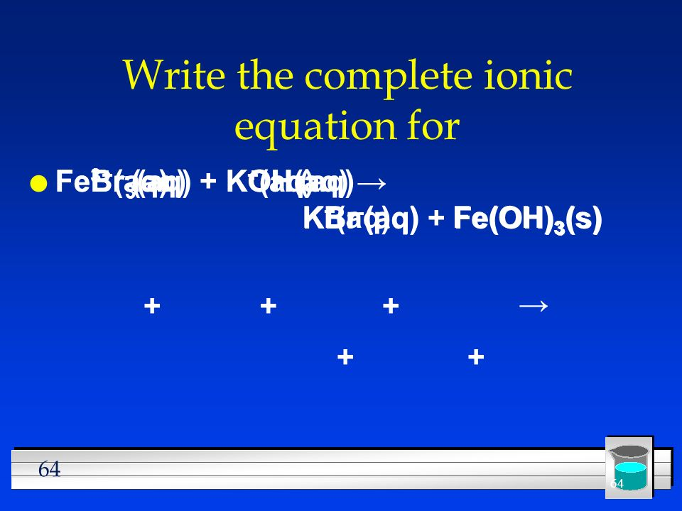 64 Write the complete ionic equation for l FeBr 3 (aq) + KOH(aq) KBr (aq) + Fe(OH) 3 (s) Fe 3+ (aq)Br - (aq)K + (aq)OH - (aq) +++ + Br - (aq)Fe(OH) 3