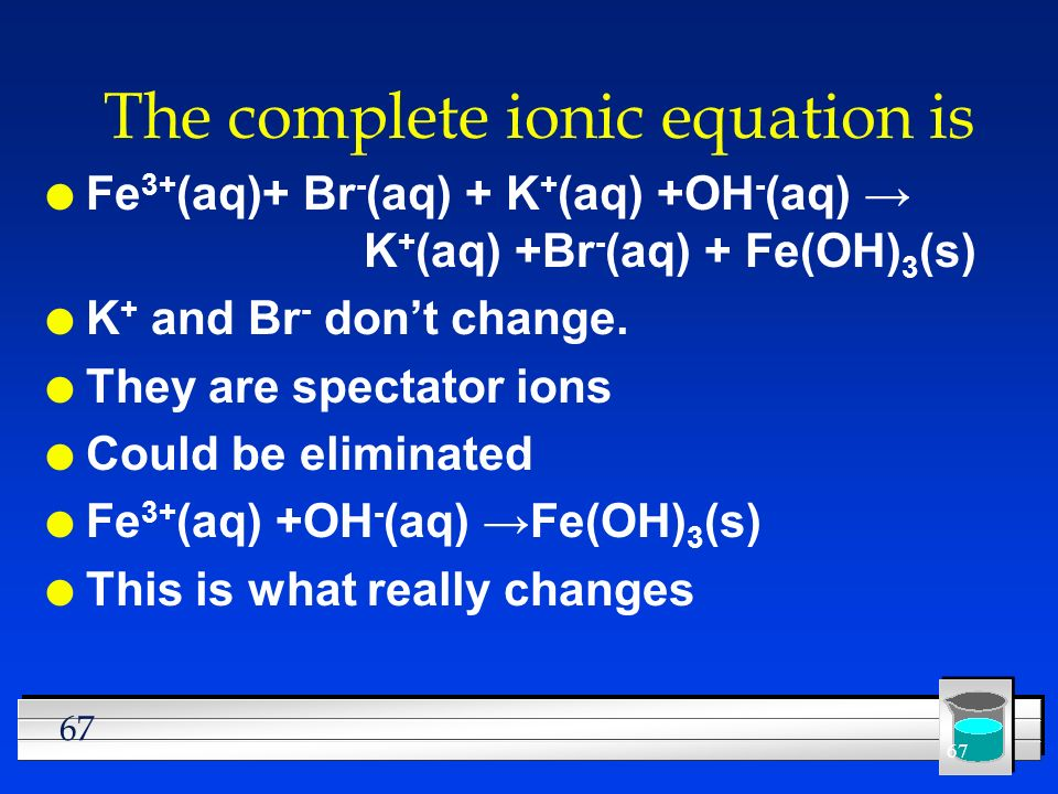 67 The complete ionic equation is l Fe 3+ (aq)+ Br - (aq) + K + (aq) +OH - (aq) K + (aq) +Br - (aq) + Fe(OH) 3 (s) l K + and Br - dont change. l They