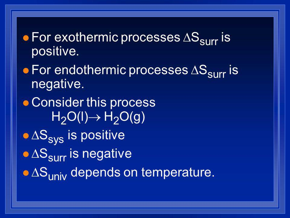 For exothermic processes S surr is positive.For endothermic processes S surr is negative.