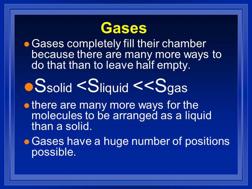 Gases l Gases completely fill their chamber because there are many more ways to do that than to leave half empty.