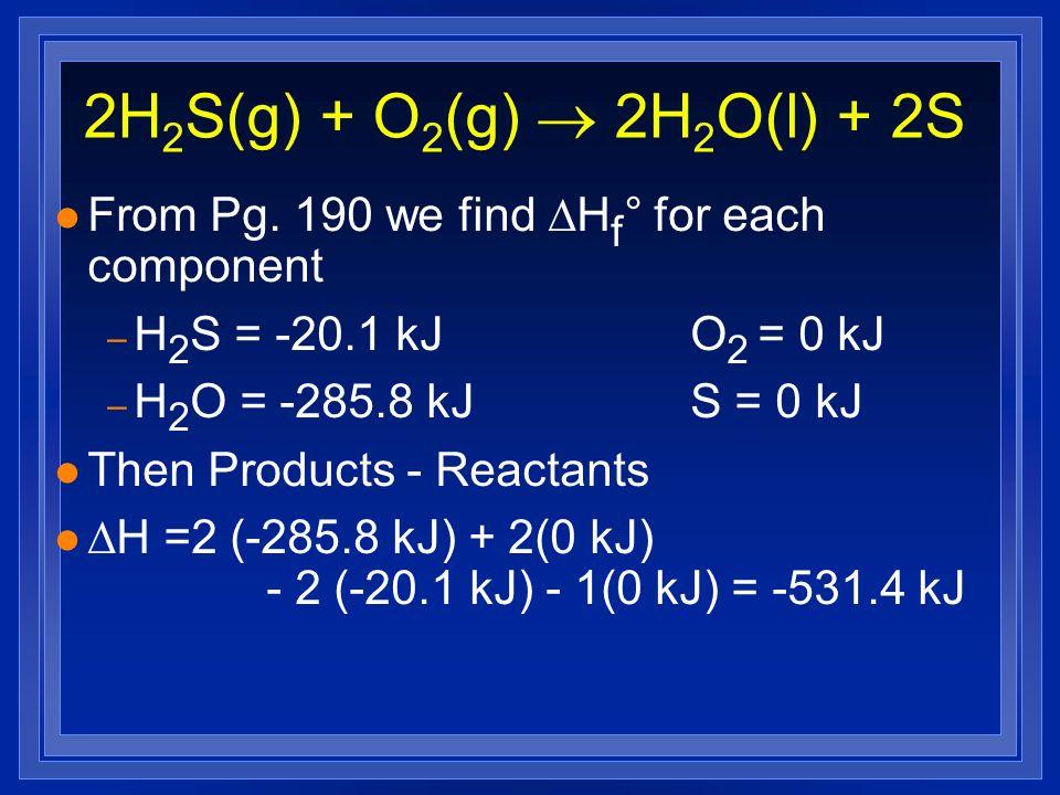2H 2 S(g) + O 2 (g) 2H 2 O(l) + 2S l From Pg. 190 we find H f ° for each component – H 2 S = -20.1 kJO 2 = 0 kJ – H 2 O = -285.8 kJS = 0 kJ l Then Pro