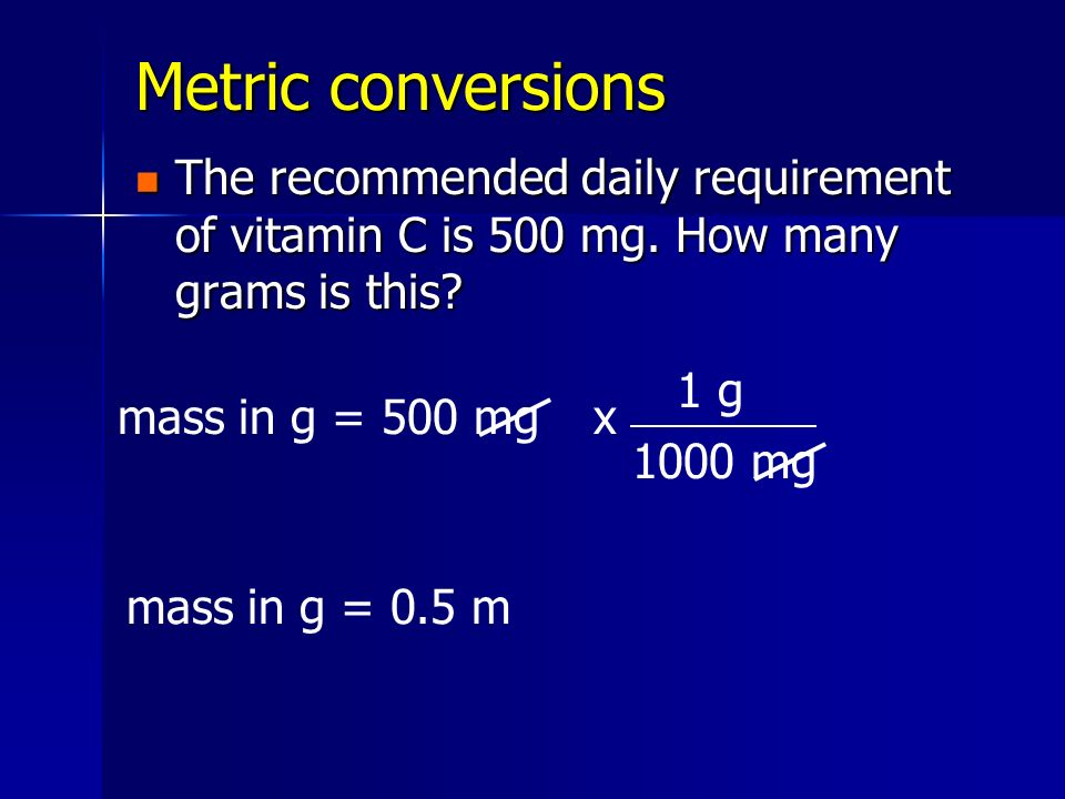 Metric conversions The recommended daily requirement of vitamin C is 500 mg. How many grams is this? The recommended daily requirement of vitamin C is