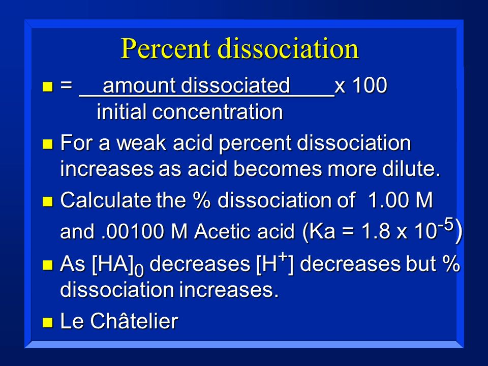 Percent dissociation n = amount dissociated x 100 initial concentration n For a weak acid percent dissociation increases as acid becomes more dilute.