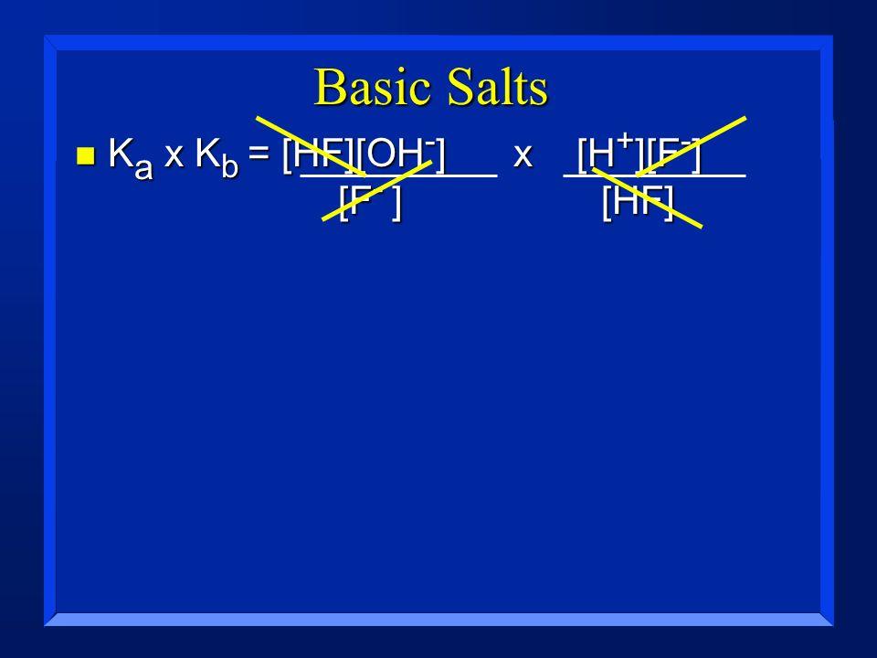 Basic Salts n K a x K b = [HF][OH - ]x [H + ][F - ] [F - ] [HF]