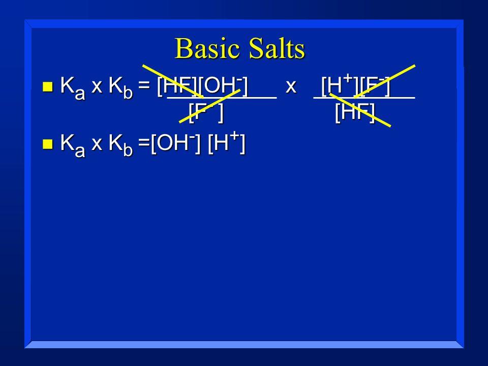 Basic Salts n K a x K b = [HF][OH - ]x [H + ][F - ] [F - ] [HF] n K a x K b =[OH - ] [H + ]
