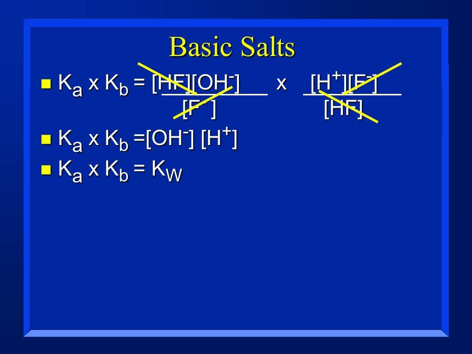 Basic Salts n K a x K b = [HF][OH - ]x [H + ][F - ] [F - ] [HF] n K a x K b =[OH - ] [H + ] n K a x K b = K W