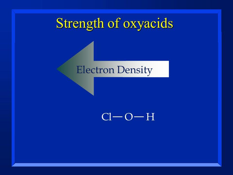Strength of oxyacids Electron Density ClOH