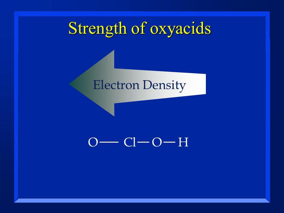 Strength of oxyacids Electron Density ClOHO