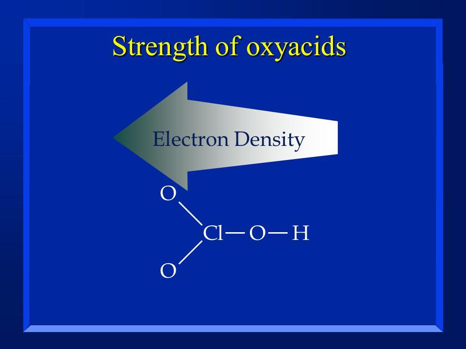Strength of oxyacids ClOH O O Electron Density