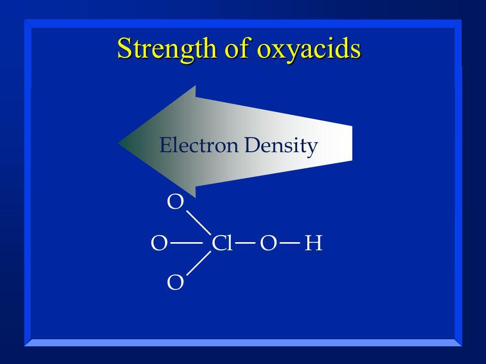 Strength of oxyacids ClOH O O O Electron Density