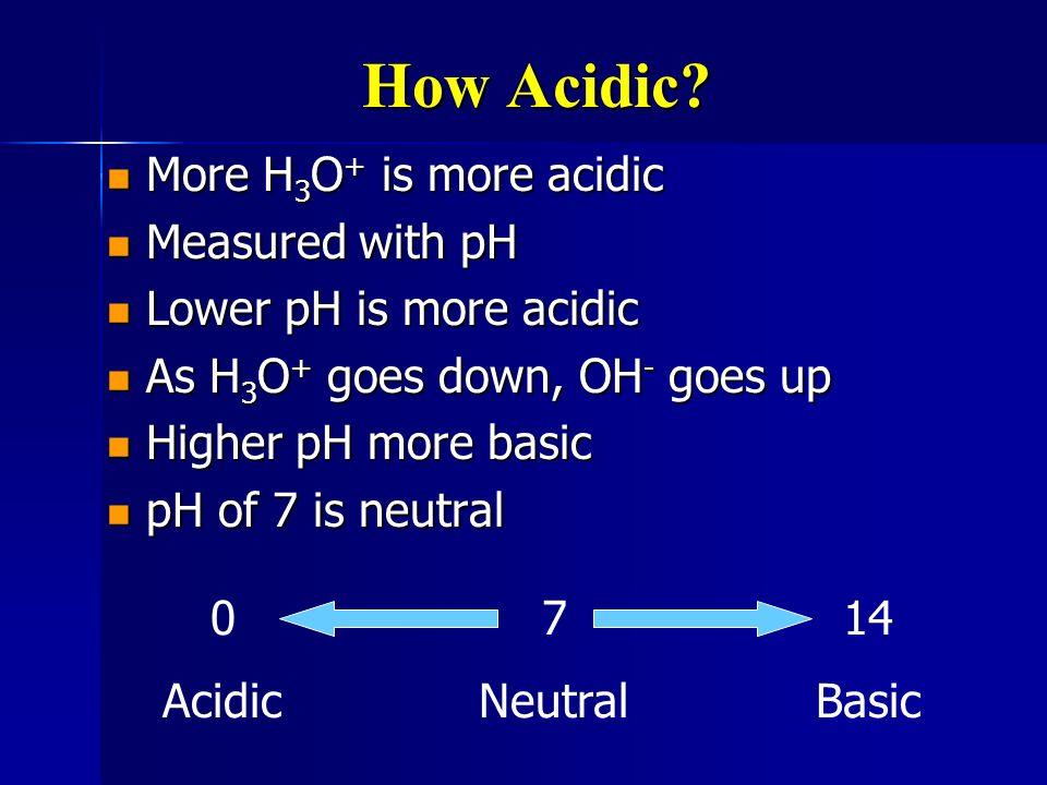 How Acidic? More H 3 O + is more acidic More H 3 O + is more acidic Measured with pH Measured with pH Lower pH is more acidic Lower pH is more acidic